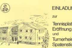 1977-08-06 Einladung zur Tennisplatzeröffnung, Turnerheim Spatenstich