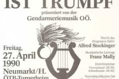 1990-04-27 Einladung Konzert der Gendarmeriemusik OÖ