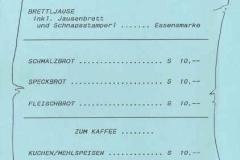 1990-06-30 Speisekarte Raiffeisen Vereinsabend