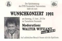 1992-06-13 Einladung Wunschkonzert Spielmannszug